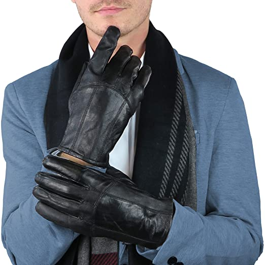 Debra Weitzner Mens Leather Gloves Black Driving Gloves Thinsulate
