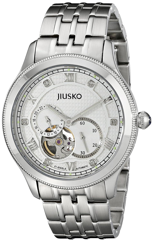 Jiuskoメンズ21 Jewel自動24 hrスケルトンステンレススチールシルバードレス手首腕時計、Exhibition Caseback 151ls01 B00NOPAKFI