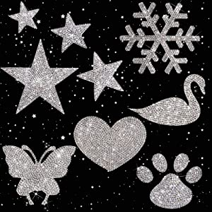 9 Pieces Crystal Car Stickers Bling Rhinestone Decals Self-Adhesive Decorative Car Stickers Glitter Butterfly Heart Footprint Sticker Snowflake Star Swan Decal for Car Bumper Window Laptops Decor