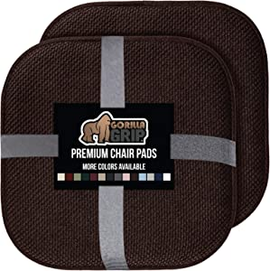 Gorilla Grip Original Premium Memory Foam Chair Cushions, 2 Pack, 16x16 Inch, Thick Comfortable Seat Cushion Pad, Large Size, Slip Resistant, Durable Soft Mat Pads for Office, Kitchen Chairs, Brown