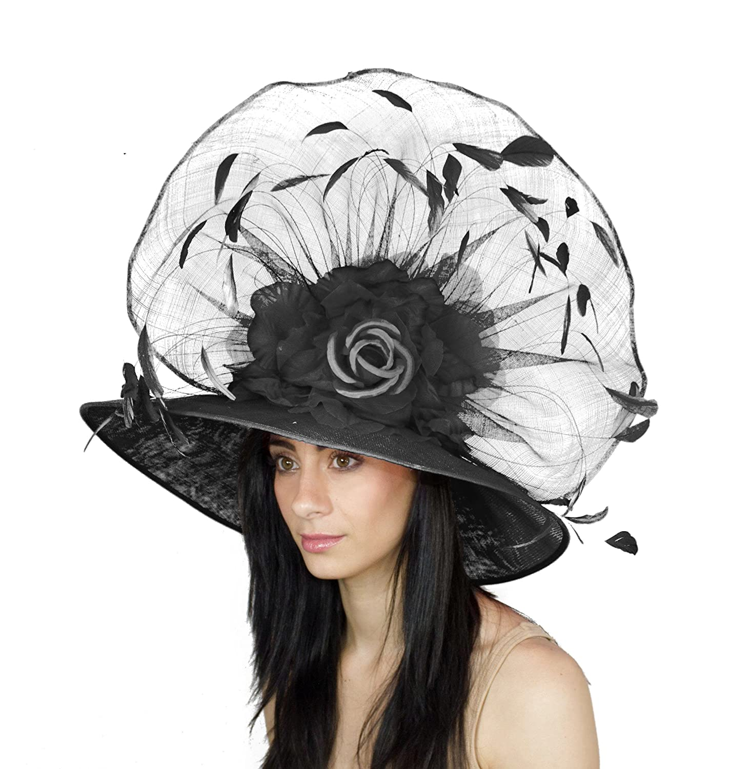 Amazon.com  Hats By Cressida Beautiful Kentucky Derby Silk and Feather  Large Hat Women s - Black  Clothing 0d43fede7723