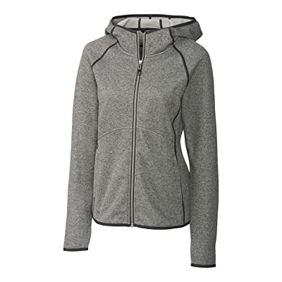 Cutter & Buck Women's Hooded Full Zip Jacket, Grey, X-Small: Clothing