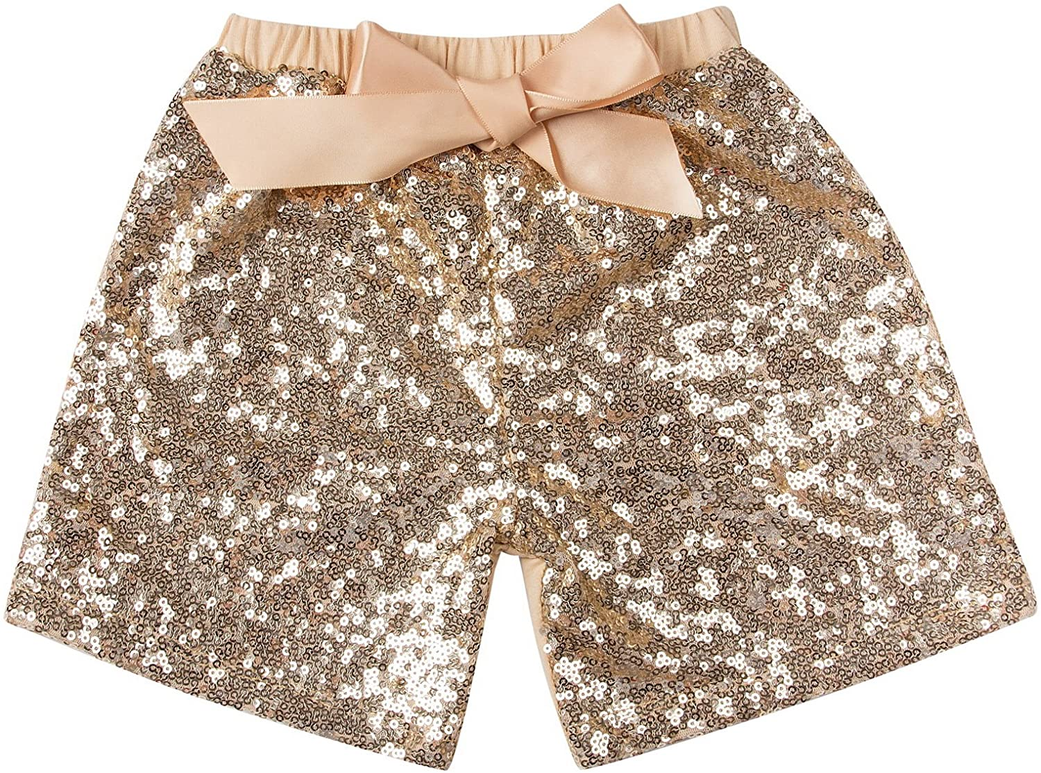 Messy Code Baby Girls Shorts Toddlers Short Sequin Pants with Bow: Clothing