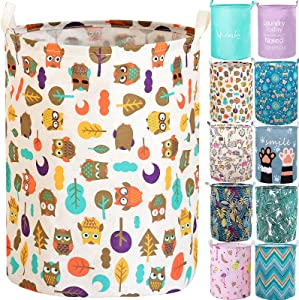 "YOMFUN Collapsible Laudry Basket for Kids Room,Baby Laundry Hamper 19.7"" Large Waterproof Dirty Clothes Hamper Cute Laundry Hamper for Teen Girls, Women,Audlts,Toy (Owl,L)"
