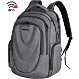 KROSER Travel Laptop Backpack 17.3 Inch Molded Front Panel Large Computer Daypack Water-Repellent with RFID Pockets USB Charging Port for Work/Business/College/Men/Women-Grey