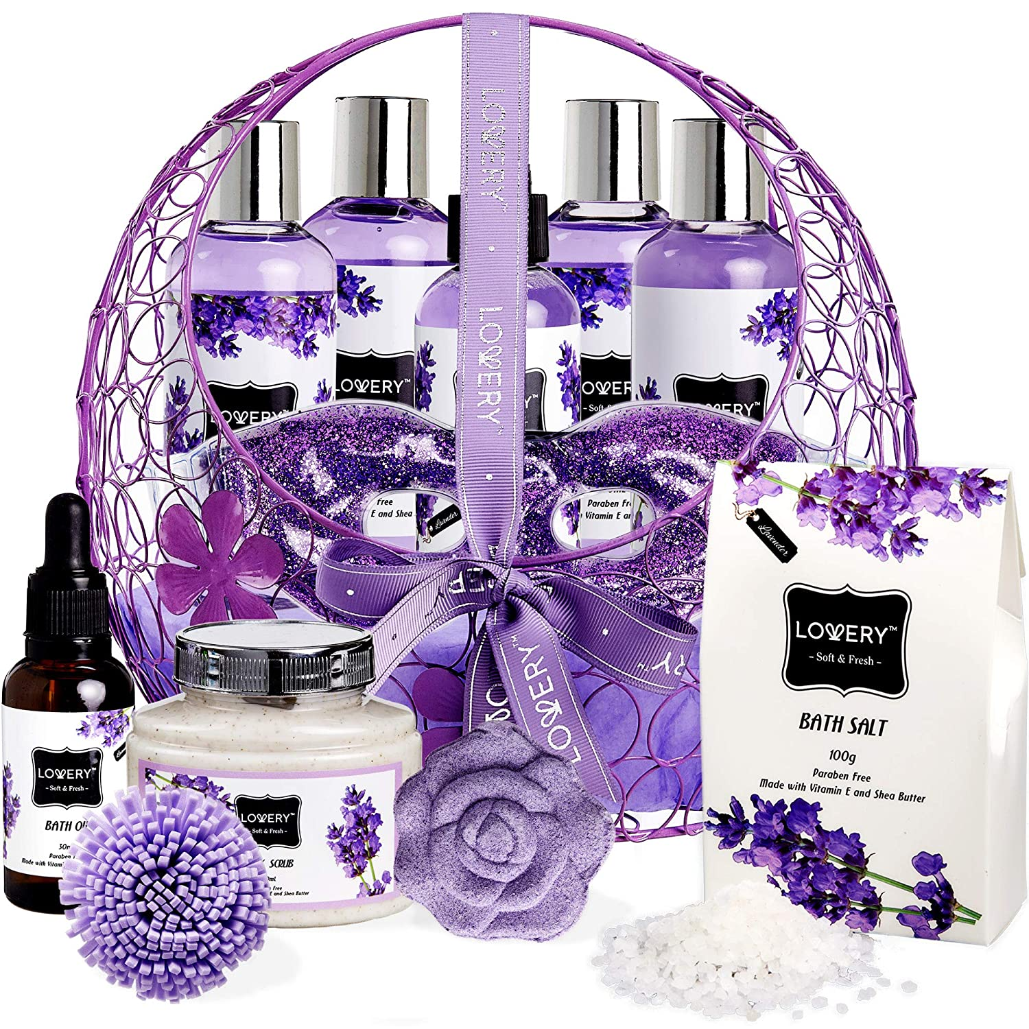Bath and Body Gift Basket For Women – Lavender and Jasmine Home Spa Set, Including Hot and Cold Gel Eye Mask, Bath Bombs, Massage Oil, Purple Wired Candy Dish and More - 12 Piece Set Lovery