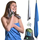Quick Dry 2 Travel Towel-Multi Purpose Set Light Super Absorbent Fast Drying Microfiber Towels Outdoor Camping Yoga Beach Sports Hand&Face Backpack Laundry Mesh Bag-Karabiner Buckle+Self Stick Card Wa