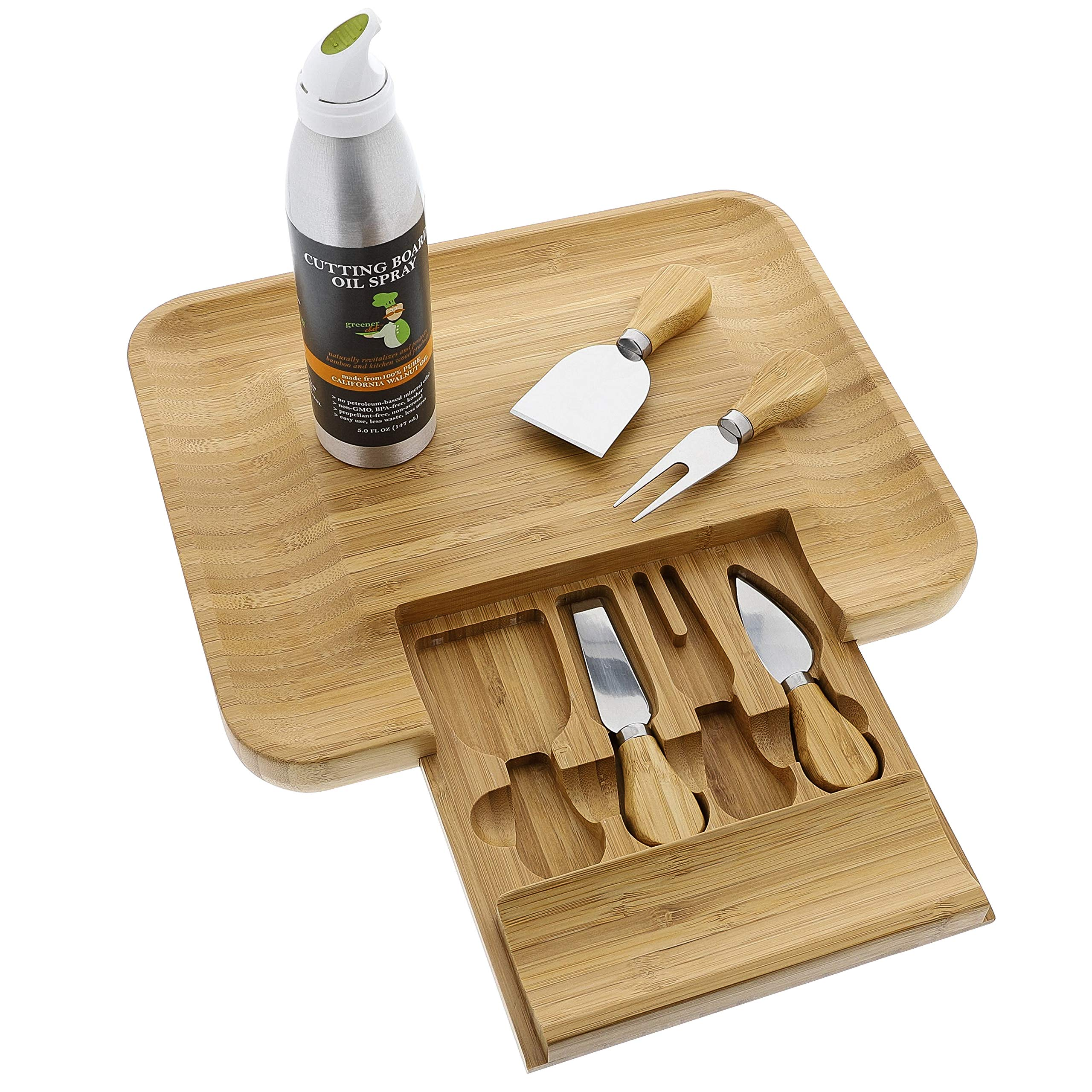 Beautiful Bamboo Cheese Board & Knife Set | Natural, Eco-Friendly & Elegant Cheese Platter Charcuterie Gift Set | Exclusive Cheeseboard With 4 Cheese Knives & Conditioning Oil Spray | Luxury Gift Idea