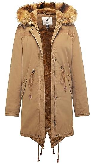 019f7808a95 WenVen Women s Mid Length Hooded Sherpa Lined Parka Jacket Fur Hood Khaki  Small