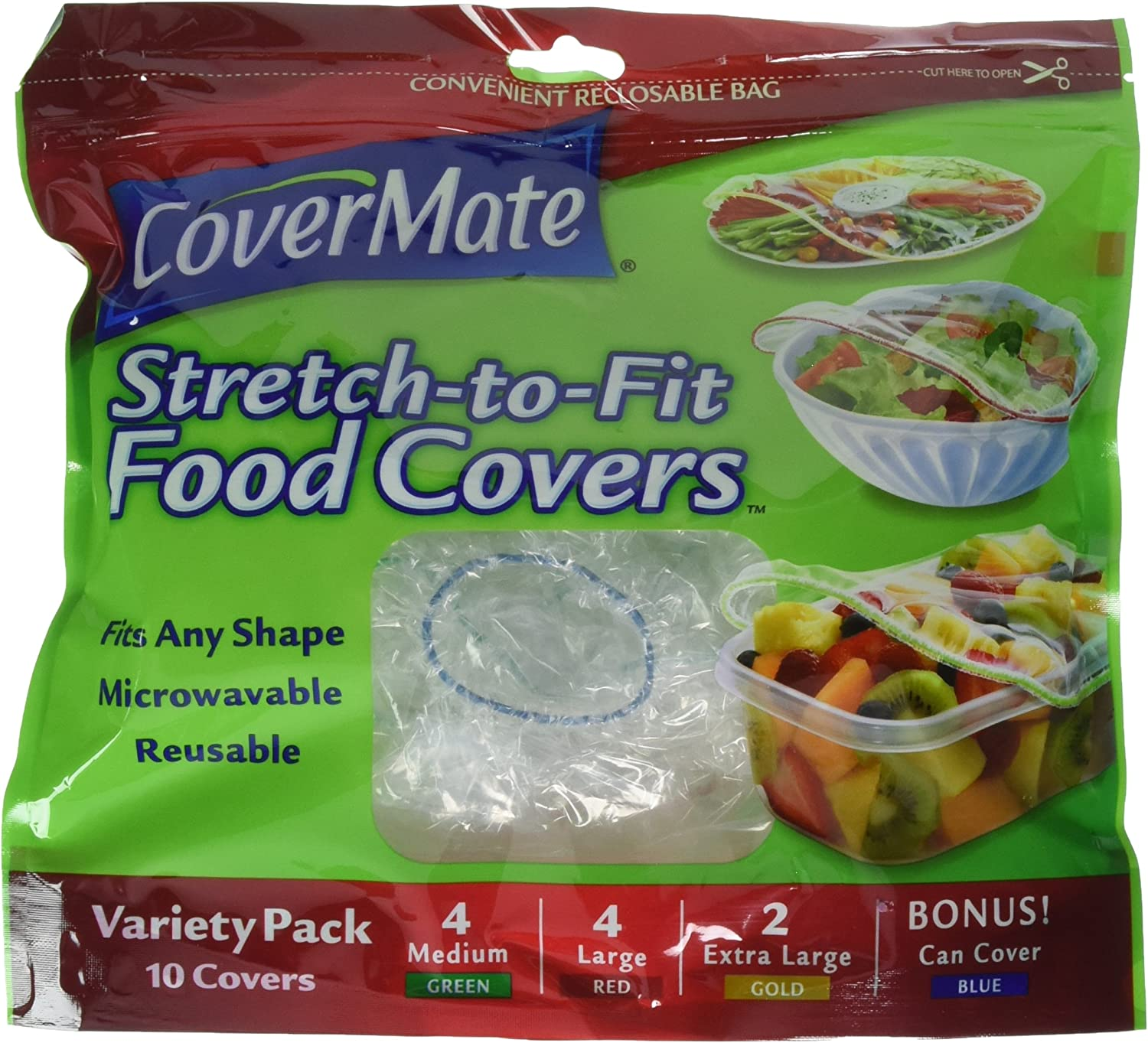 CoverMate Stretch-To-Fit Food Covers, Assorted Sizes, 60 Total Covers