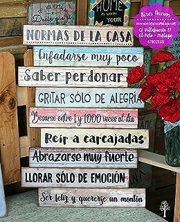 Enkolor Carteles Vintage Madera Frases Normas de la Casa ...