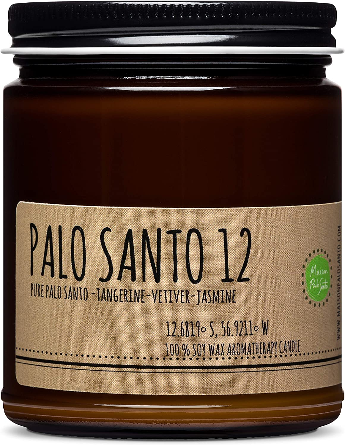 Maison Palo Santo Soy Wax Candle - Palo Santo, Tangerine, Vetiver and Jasmine Natural Scented Candle for Aromatherapy, Negative Energy Cleansing, Chakra Balancing and Meditation, 9 oz
