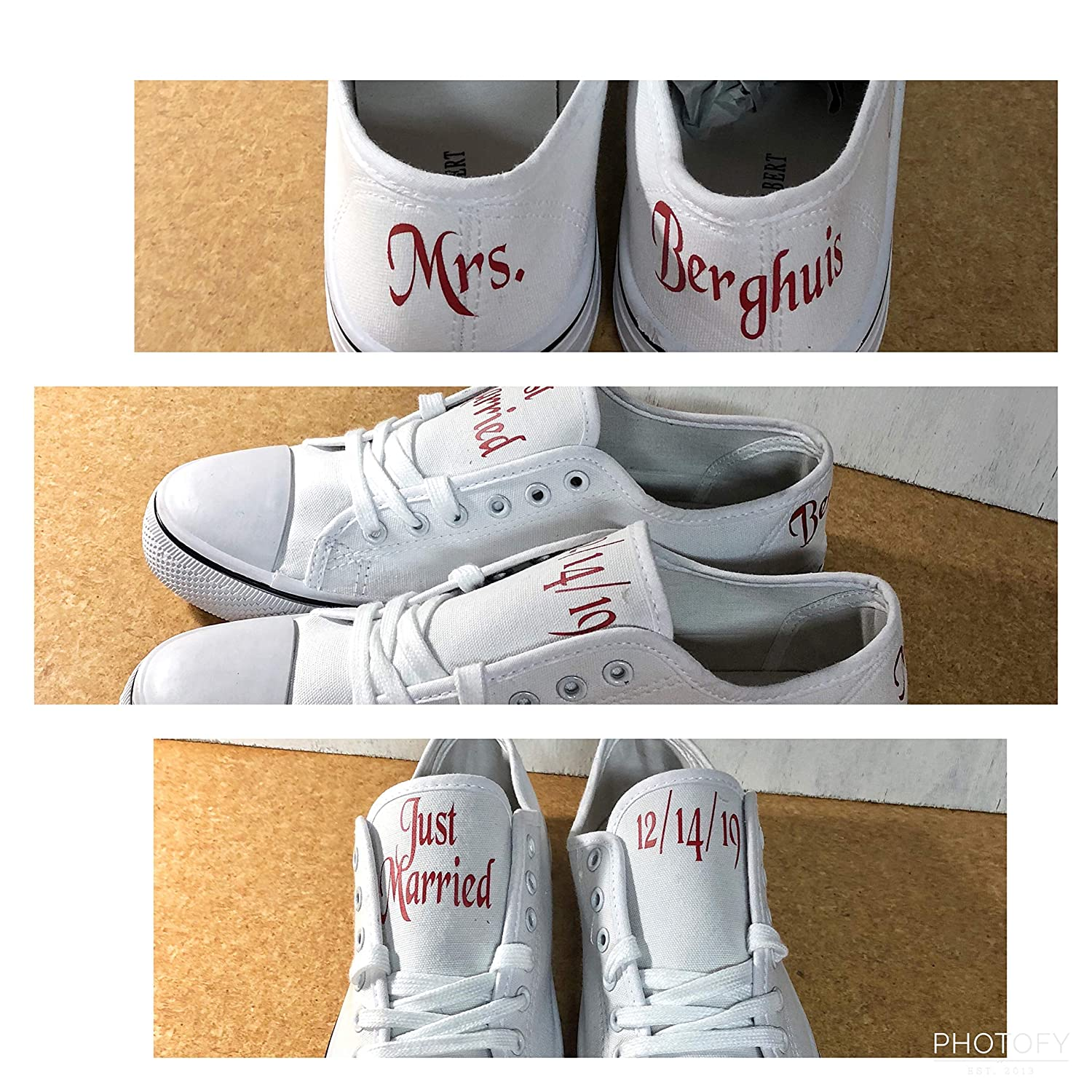 Personalized White Canvas Wedding Shoes