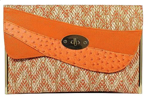 Girly Handbags Stroh Bast Band Clutch Bag Unterarmtasche Schlicht