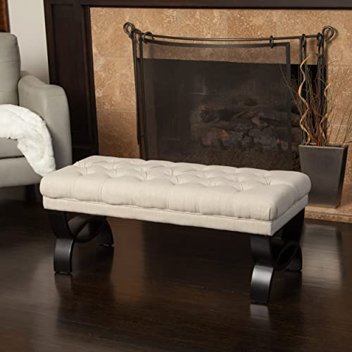 Christopher Knight Home Scarlett Tufted Fabric Ottoman Bench, Light Beige