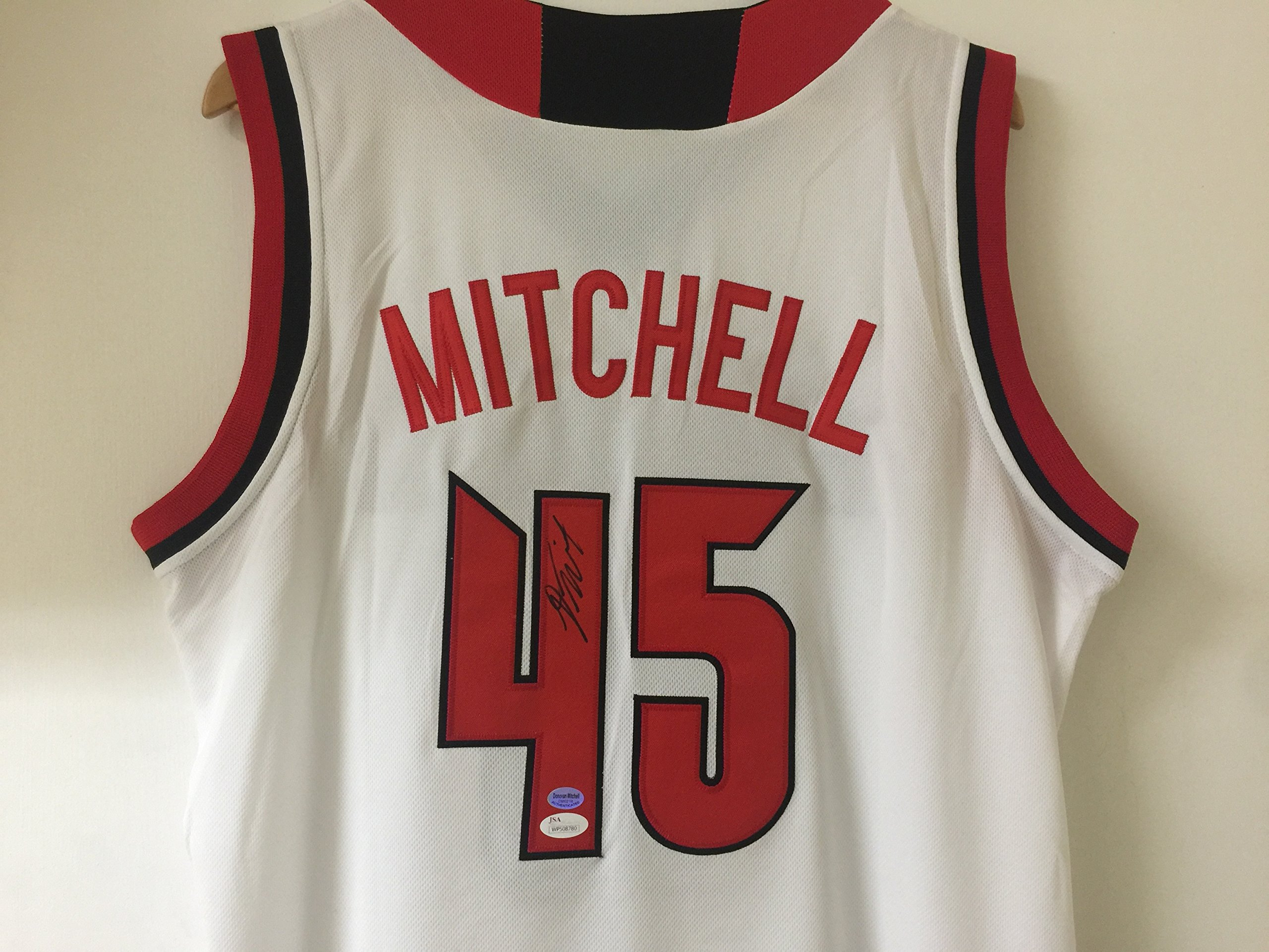 Donovan Mitchell Utah Autographed Louisville White Basketball Signed Jersey JSA Witnessed Certified NBA NCAA Jersey by Donovan Mitchell