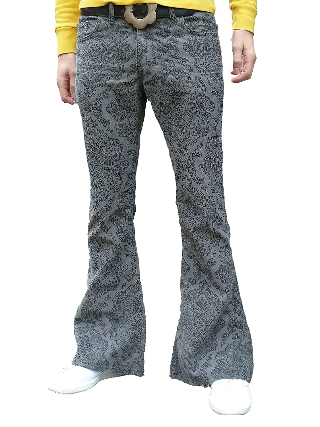 1960s Men's Clothing, 70s Men's Fashion Mens Paisley Corduroy Bell Bottoms Flares Gray Pants Trousers Jeans Retro Hippie MOD Indie $50.60 AT vintagedancer.com