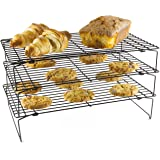 Andrew James 3 Tier Cooling Rack Set, Space Saving 3 Stackable Wire Trays for Baking Cakes & Biscuits Etc., Oven Safe, Heat Resistant, Collapsible Legs, Each Tier 39.5 x 25cm, 7.5cm High