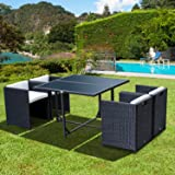Outsunny 5pcs Rattan Garden Furniture Outdoor Dining Table and Chairs Set Patio Wicker Furniture - 4 x Chairs w/ Cushions + 1 x Table Black
