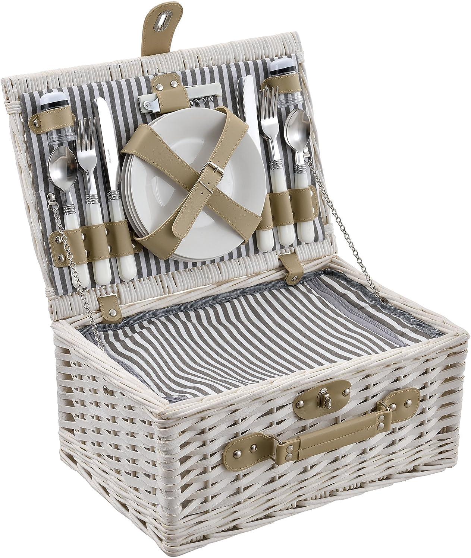 casa.pro ® Picknickkorb für 2 Personen Kühltasche Camping Set Korb Besteck
