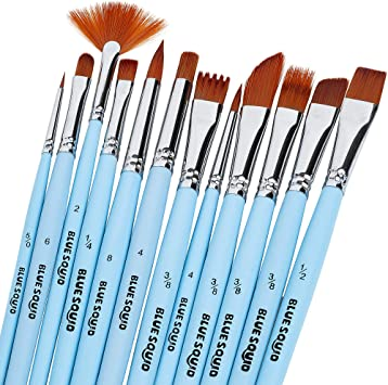 12 Black Artist Pointed Brushes Set Craft Watercolor Acrylic Paint Painting