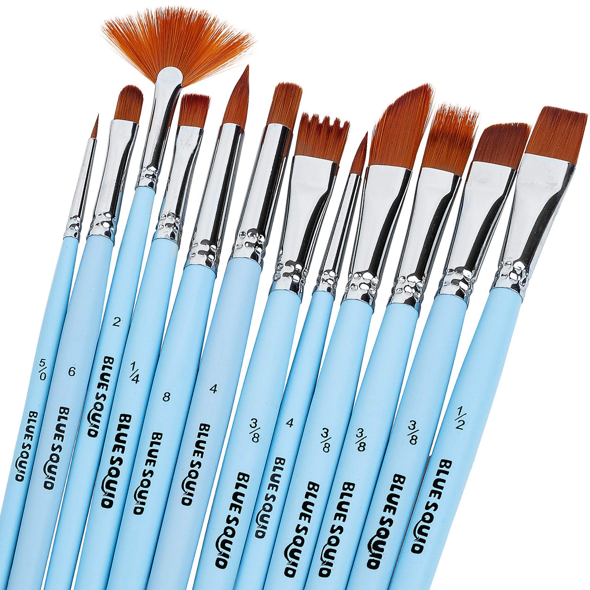 Watercolor Brushes Set 12 - by Blue Squid Perfect for Face Painting, Round Pointed Tip Nylon Hair Artist for Acrylic Watercolor Oil & Body Painting by Blue Squid