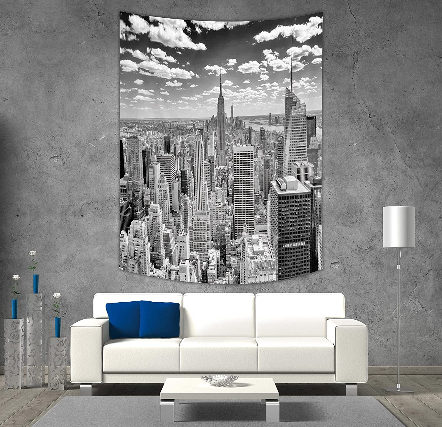 iPrint Polyester Tapestry Wall Hanging,New York,NYC over Manhattan from Top of Skyscrapers Urban Global Culture Artful City Panorama,Grey,Wall Decor for Bedroom Living Room Dorm