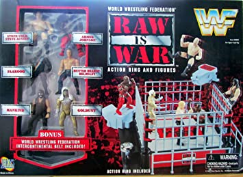 Wwf Raw Is War Action Ring And Figures Stone Cold Steve Austin Faarooq Mankind Ahmed Johnson Hunter Hearst Helmsley Goldust By Jakks Pacific By Jakks Pacific Amazon Co Uk Toys Games