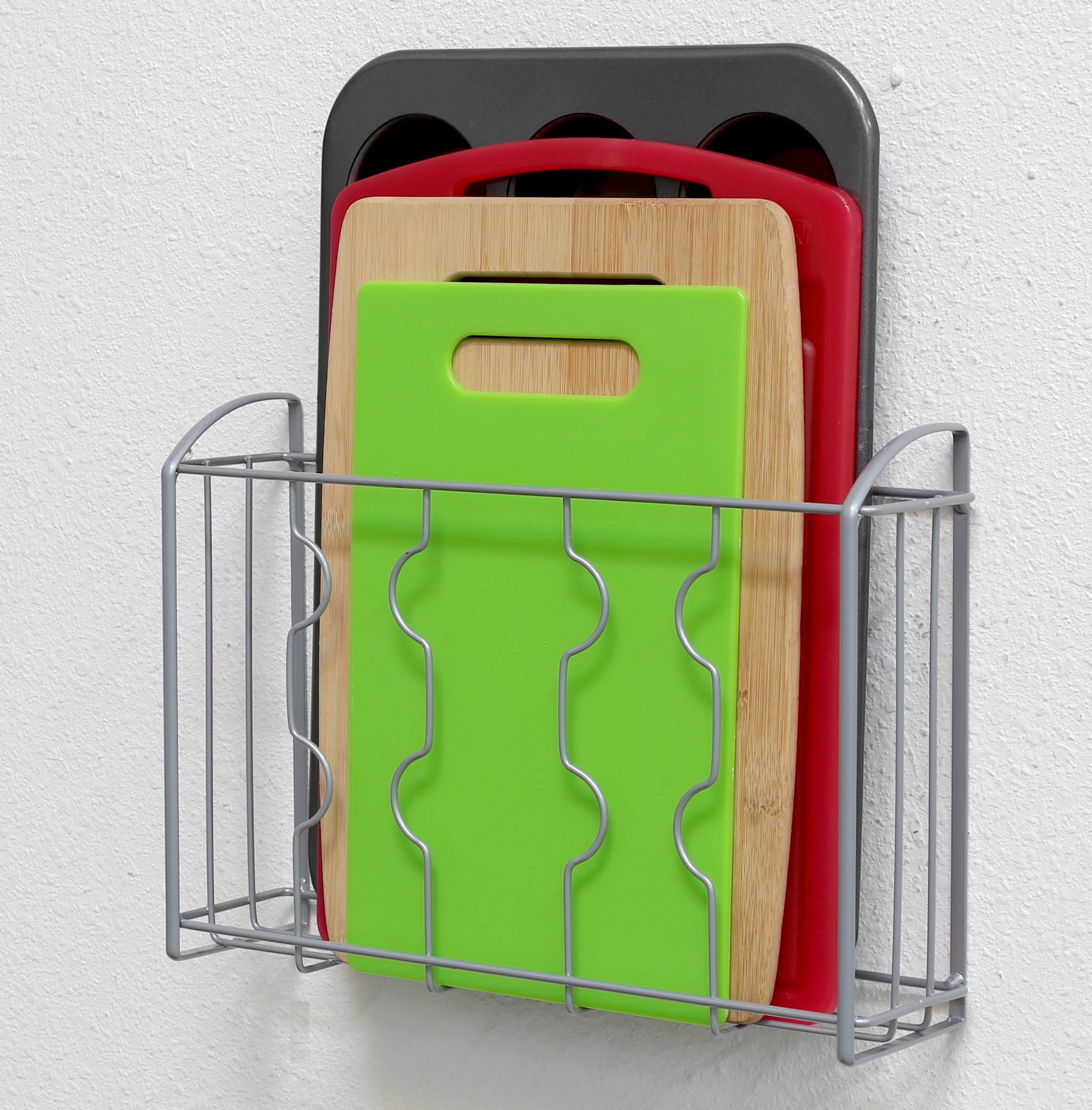 over the cabinet door organizer holder cutting board bakeware cookie sheet rack 707129800435 ebay. Black Bedroom Furniture Sets. Home Design Ideas
