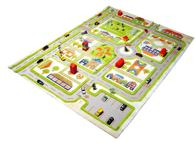 Little Helper 3D Childrens Play Rug in Town Traffic Design, Green (80 x 100cm) LHB121MD033YE80103-E