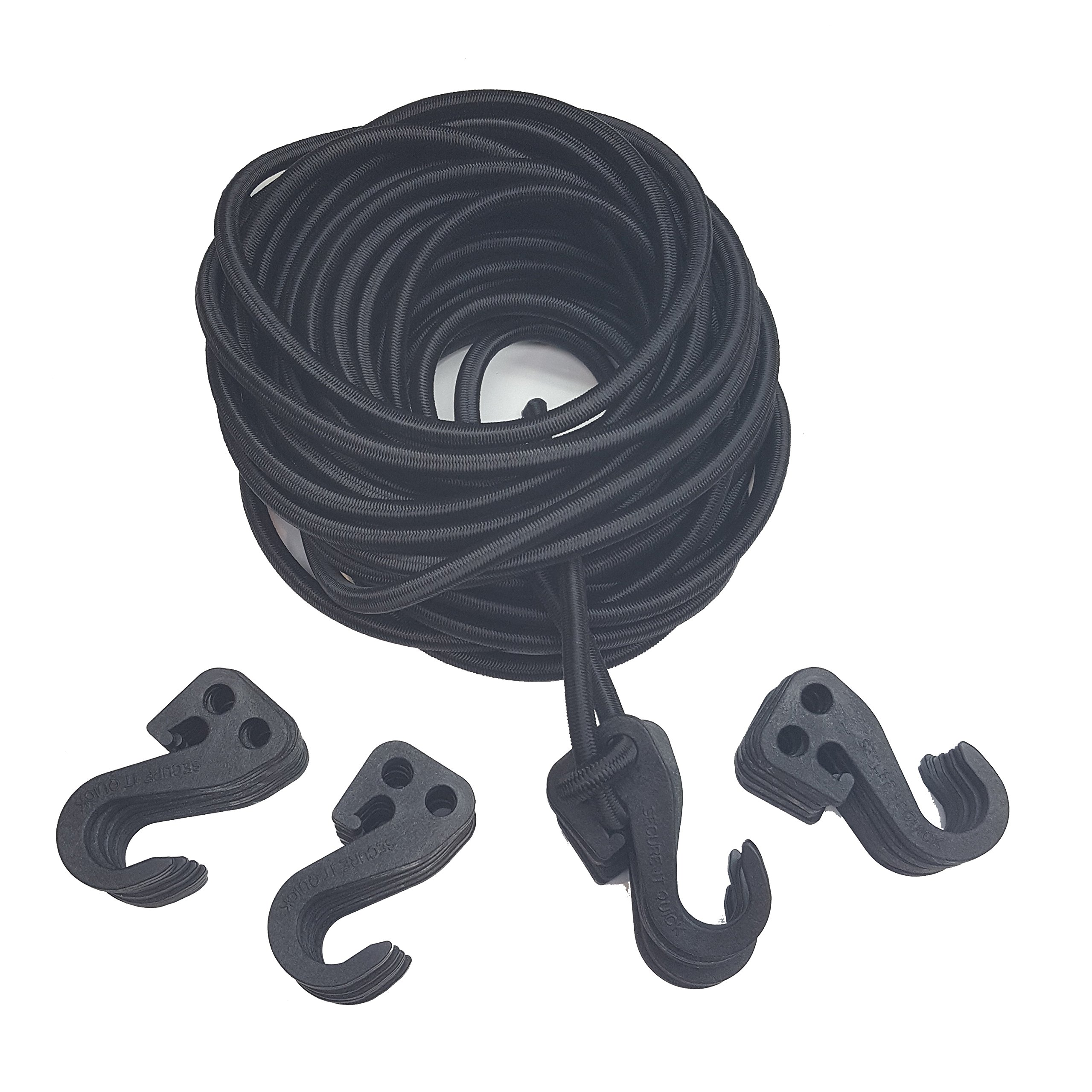 Secure IT Quick - 3/8'' Bungee Cord Kit 50' with 24 Adjustable SIQCN Hooks''No Crimps Needed'' (Black)