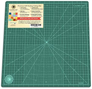 "Calibre Art Self Healing Rotating Cutting Mat, Perfect for Quilting & Art Projects, 18x18 (17"" Grid)"