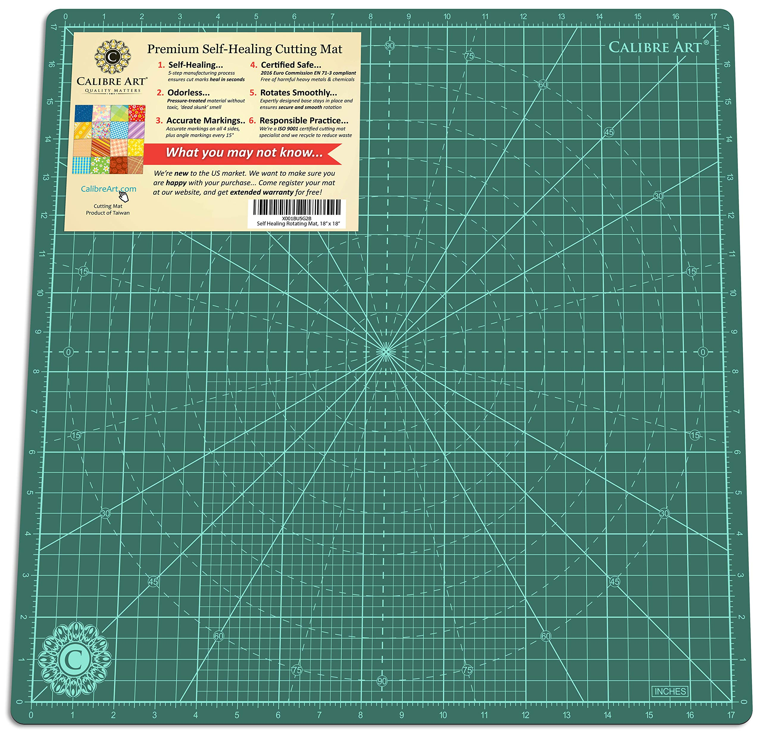 Calibre Art Self Healing Rotating Cutting Mat, Perfect for Quilting & Art Projects, 18x18 (17'' Grid)