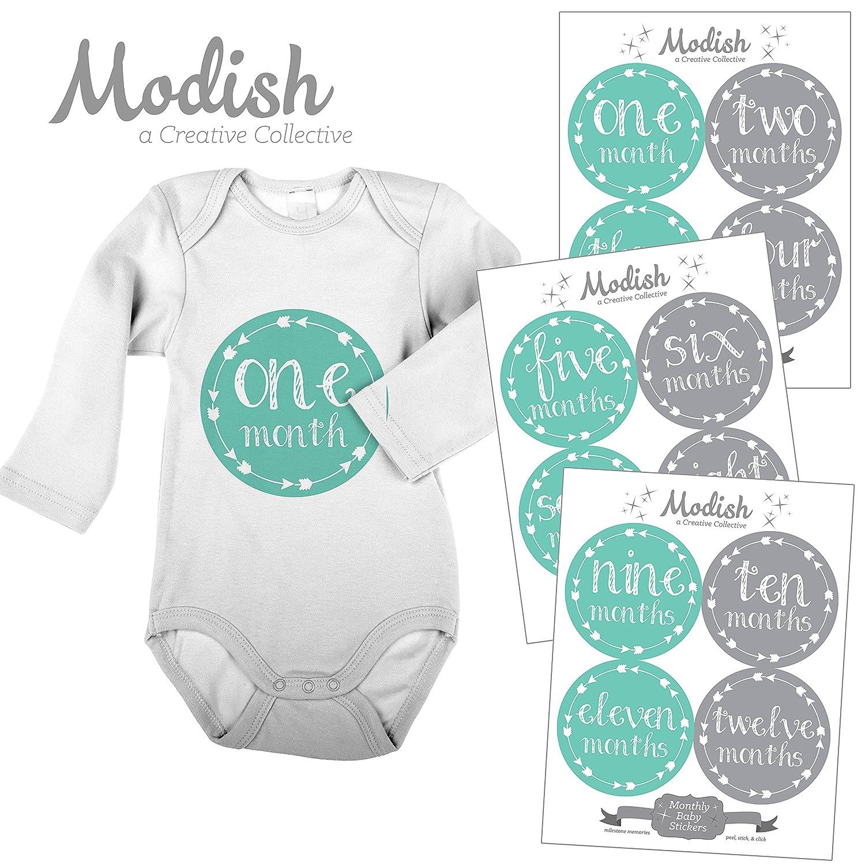 【史上最も激安】 12 Gray, Gender Monthly Baby Stickers, Teal 1-12, & Gray, Girl, Boy, Gender Neutral, Baby Belly Stickers, Monthly Onesie Stickers, First Year Stickers Months 1-12, Teal, Grey, Arrows, Tribal, Baby Girl, Baby Boy, Gender Neutral by Modish - Creative Collective B00XFQWRGQ, 陸前高田市:5039ddc2 --- mvd.ee