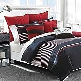 Nautica Mineola Cotton Comforter Set, King, Red/Blue