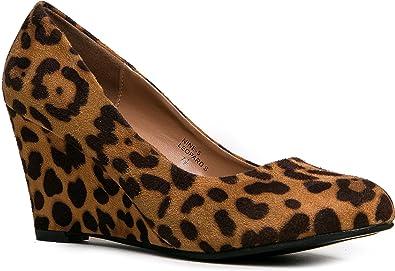 J. Adams Leopard Low Wedges Heel