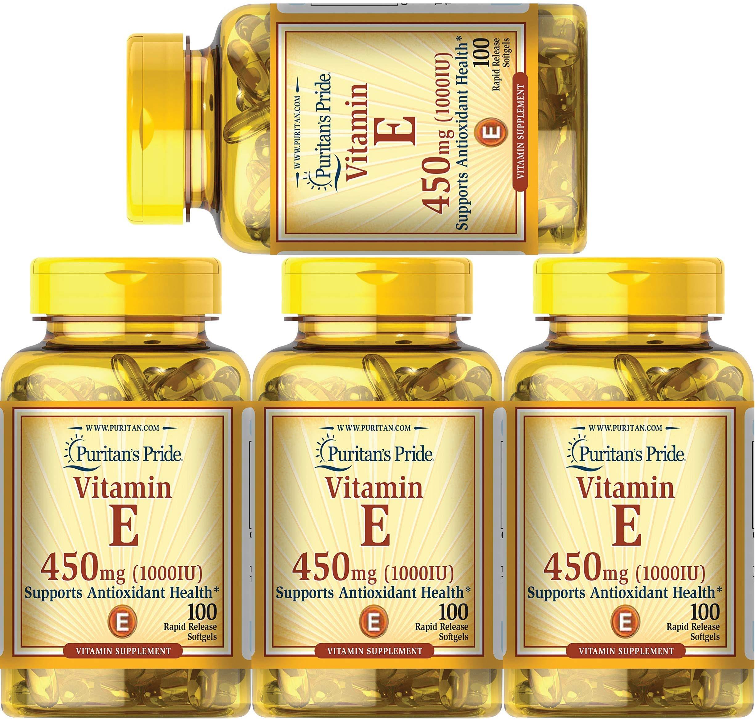 Puritan's Pride Vitamin E 1000 IU Soft Gels,100 Count (4 Pack) by Puritan's Pride