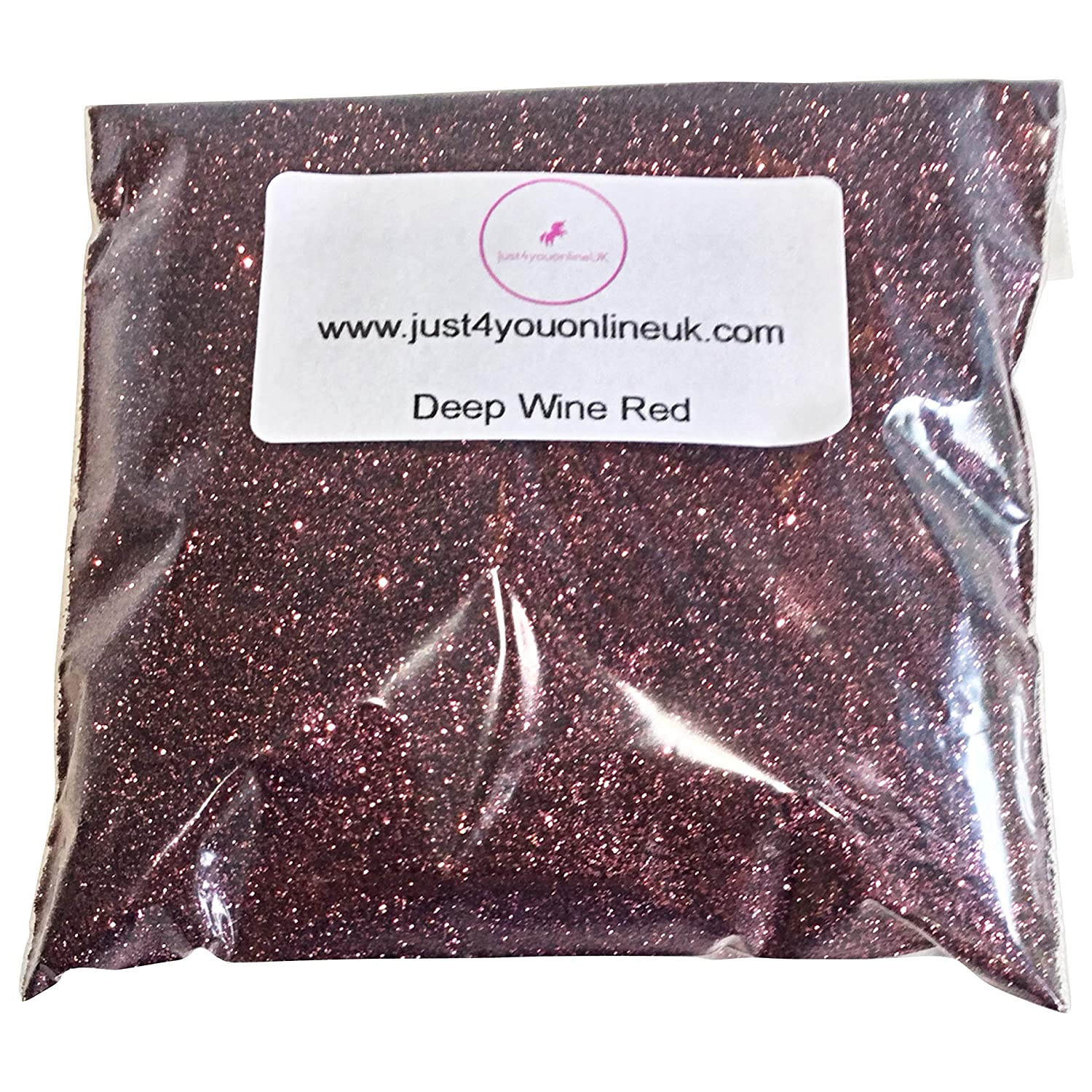 Fine and Chunky Glitter bags -Wine Glass Nail Art Cosmetic Face Paints Craft Florist Festival 10 50 100g (100g, Chunky Red) Just4youUK