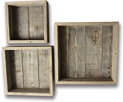 Reclaimed Wood Shadow Box with Wood Backing – Rustic Farmhouse Barn Wood Style – Floating Shelves – Set of 3 Weathered Gray Farm House Box Frames