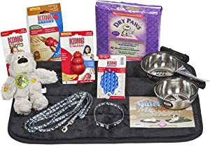 Puppy Starter Kit for Small Dog Breeds, Kit includes: Kong Classic Toys & Treats | Coastal Dog Leash & Collar | MidWest Dog Bowls, Dog Bed & Training Pads