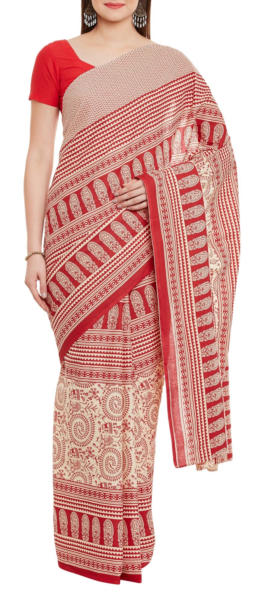 Women's Indian Warli Print Art Saree Cotton Set of 3 Sari Blouse Petticoat Skirt,W-CSR0340-5001