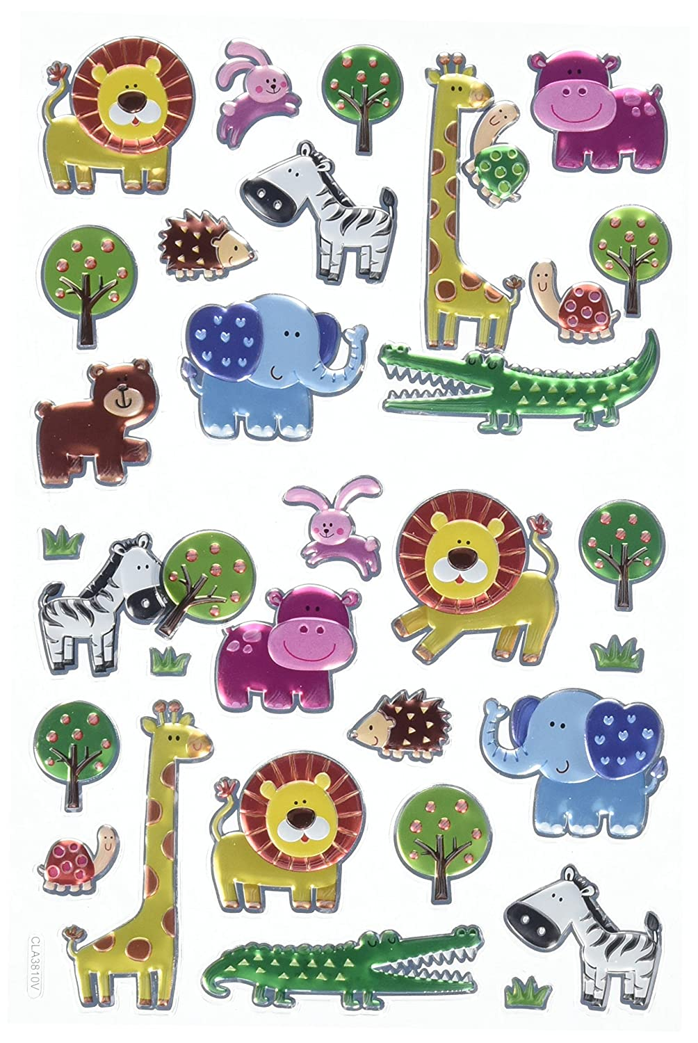 Multicolor Multicraft Imports SS060T Baby Animal Safari Craft Foil Fun Stickers