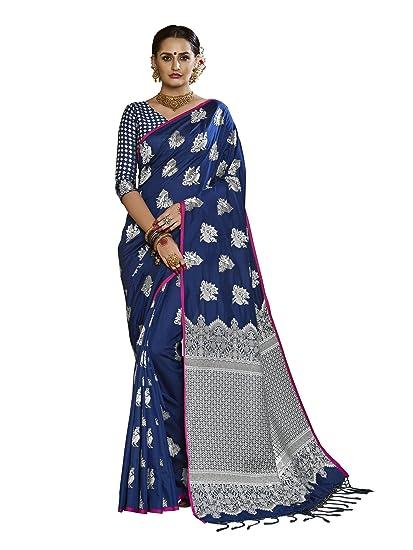 8b7025a0e9 Stylee Lifestyle Navy Blue Banarasi Silk Jacquard Saree: Amazon.in:  Clothing & Accessories