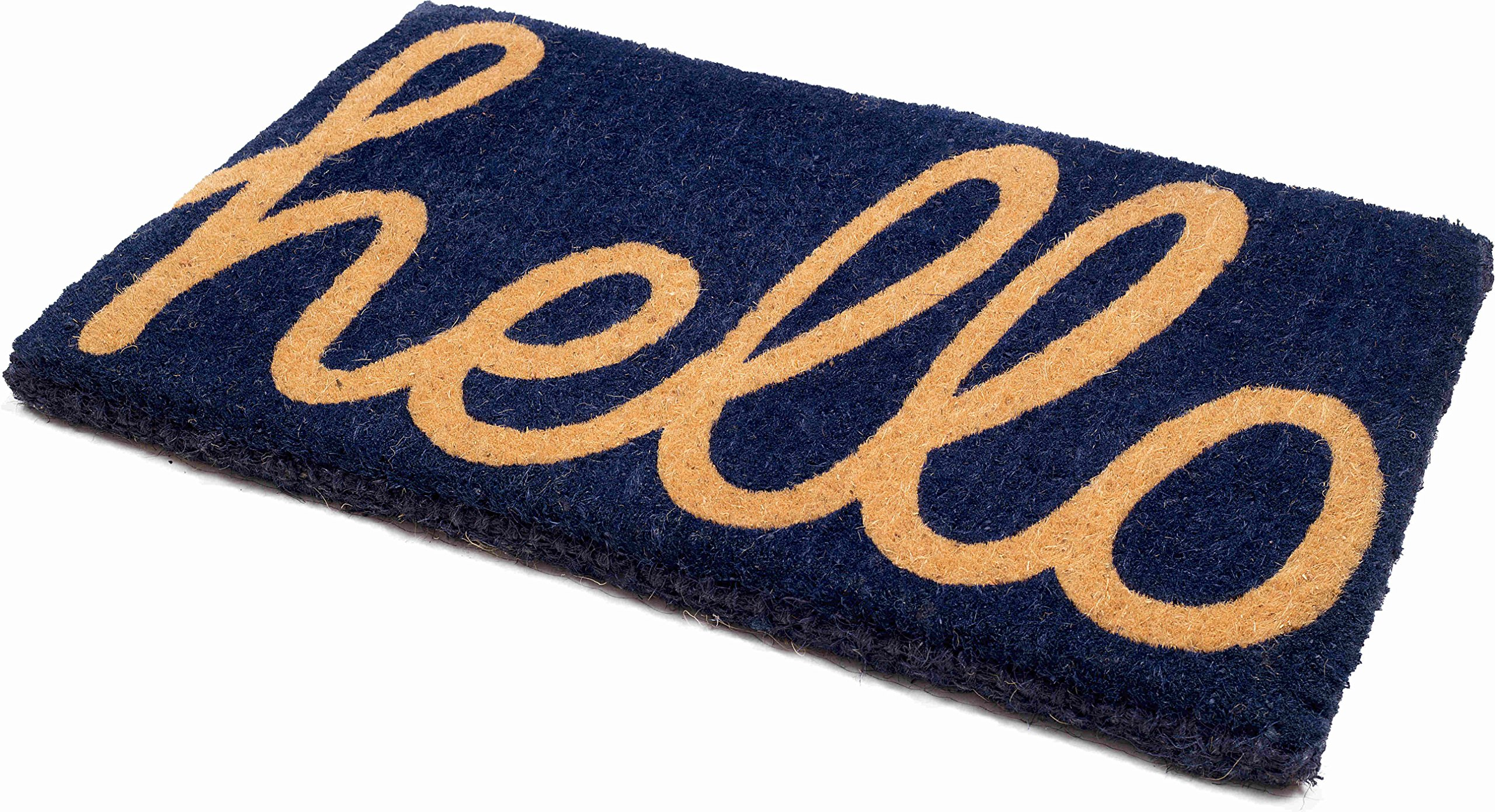Handwoven, Extra Thick Doormat | Entryway Door mat For Patio, Front Door | Decorative All-Season | Cursive Hello - Dark Blue | 18'' x 30'' x 1.60''