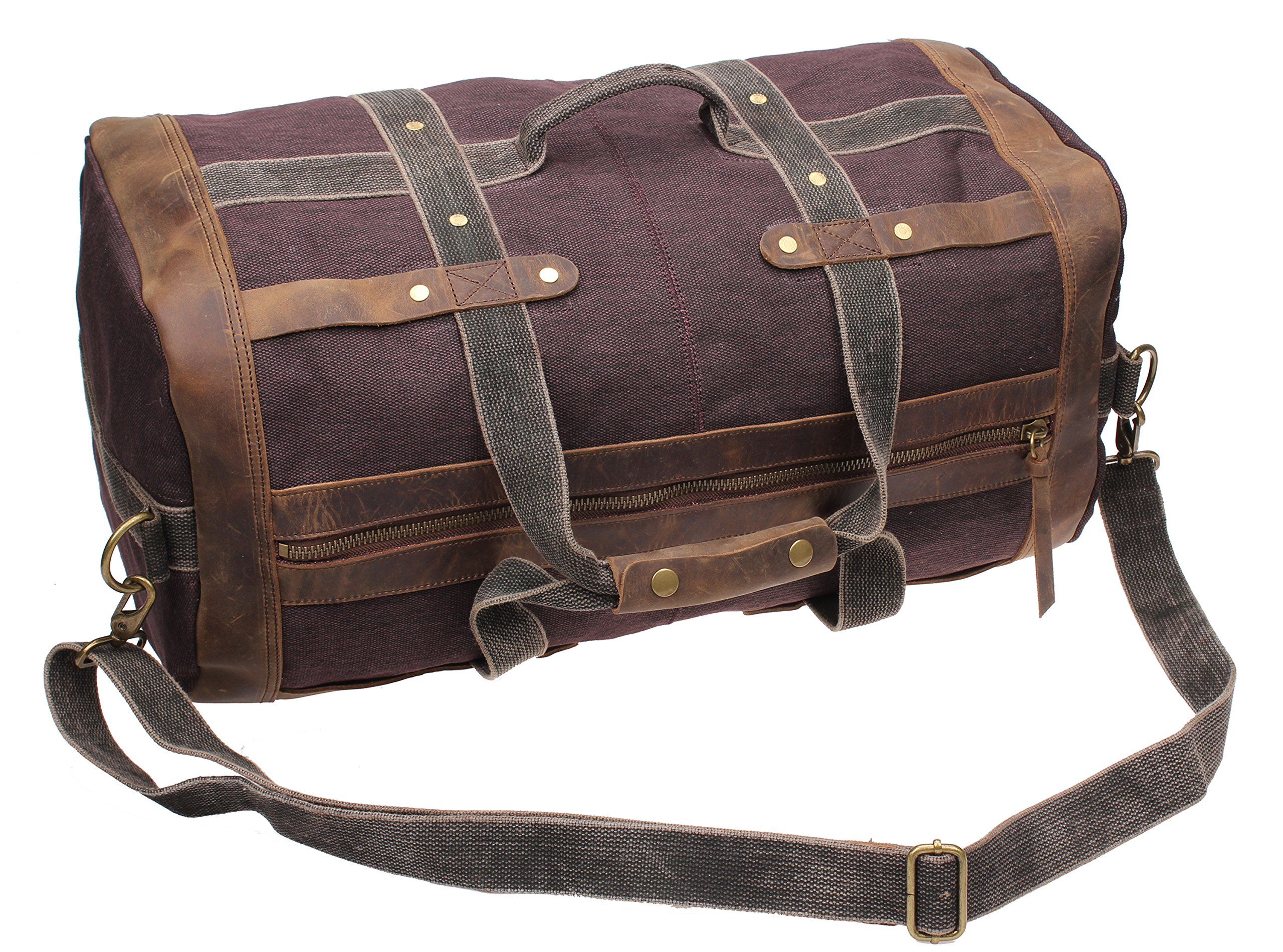 Iblue Weekend Bag Travel Duffel Bags For Men Canvas Carry On #B007(XL, coffee) by iblue (Image #4)