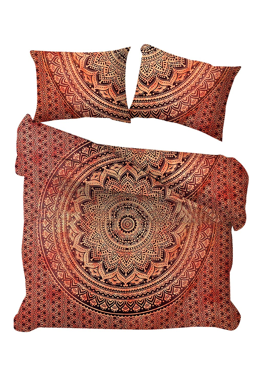 Marusthali Indian Ombre Mandala Krawattenfarbe Queen Size Hippie Boho Baumwolle Tagesdecke böhmischen Bettdecke