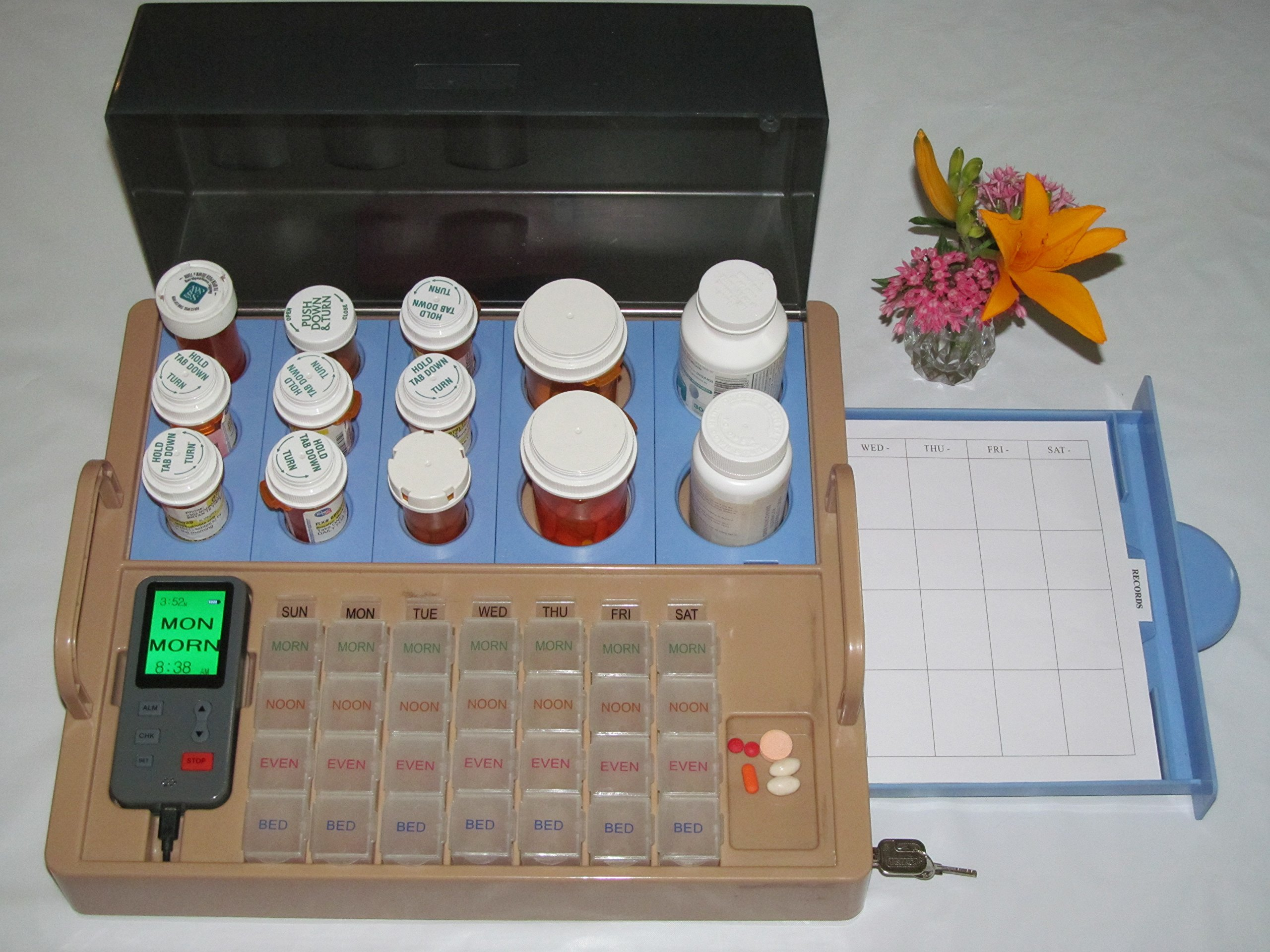 Home Med Station, A COMPLETE Medication System for Home: Medicine Organizer, Medication Dispenser, Digital Alarms (visual & audio), Color Coded Daily Pill Boxes, Lockable Storage, Communications