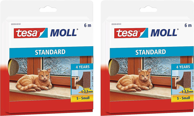 tesamoll/® STANDARD I-Profil Schaumstoffdichtung f/ür Fenster und T/üren 6mx9mmx4mm // 5er Pack, wei/ß