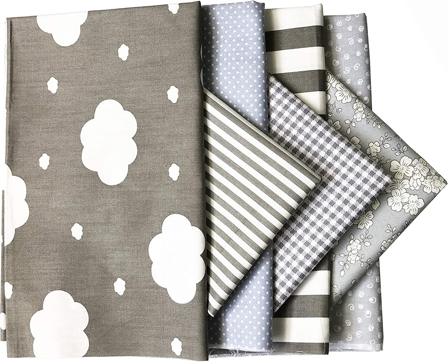 ANDRIMAX 7 PCS 18x 22 Gray Cotton Craft Fabric Bundle Fat Quarter Patchwork Pre-Cut Quilt Squares for DIY Sewing and Quilting Projects