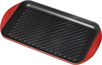 """Le Creuset of America L2032-4067 Enameled Cast Iron Double Burner Grill, 15 3/4"""" x 9"""" x 1""""/X-Large, Cherry"""